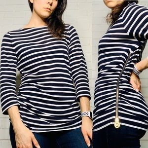 Michael Kors Striped Quarter Sleeve Side Zip Top